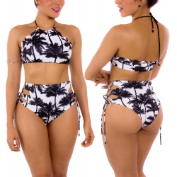 PRAIE High Waisted Swim Bottom REF: 2127B Retro Palmeras *Tummy