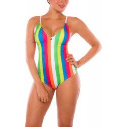 Vestido de Baño Enterizo PRAIE REF: 1645 Estiliza Colores Rayas