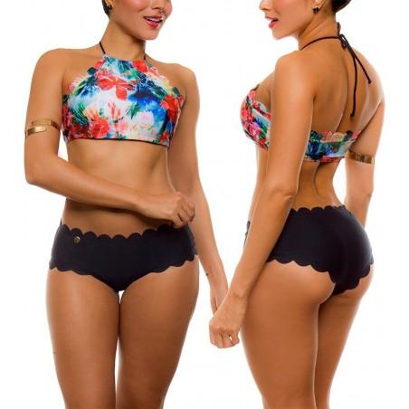 Vestido de Baño Bikini Cachetero PRAIE REF: 1615 Halter Palmeras