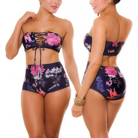 PRAIE High Waist Bikini REF: 1907 Aves y Flores