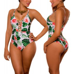 PRAIE One piece Swimsuit REF: 1830 Enlazado Leaves *Tummy
