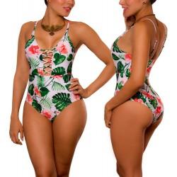 PRAIE One piece Swimsuit REF: 1830 Enlazado Leaves *Tummy