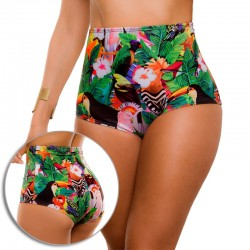 PRAIE High Waisted Swim Bottom REF: 1605B Retro Cachetero Birds