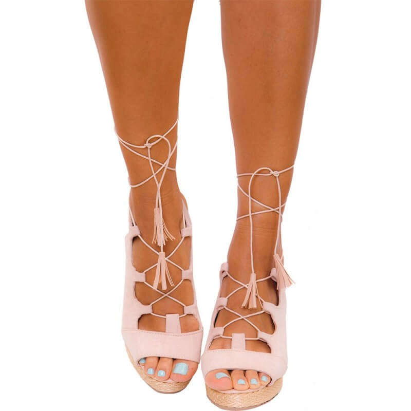 PRAIE Platform Sandals REF: Z004 Nude Leather Yute