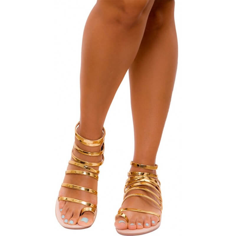 PRAIE Flat Sandals REF: Z001 Gold Leather