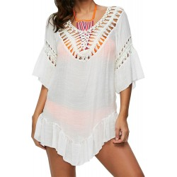 PRAIE Beachwear REF: 1832 Short Dress Feathers Handmade