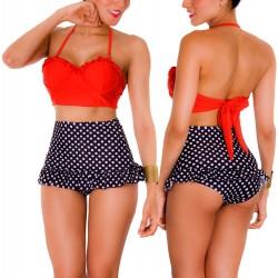 PRAIE High Waist Bikini REF: 1401 Polka Boleros