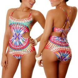 PRAIE One piece Swimsuit REF: 1135 Geometrico *Tummy Control