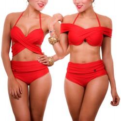 Vestidos De Baño Bikinis Panty Alto Copas Cruzado Praie 1612