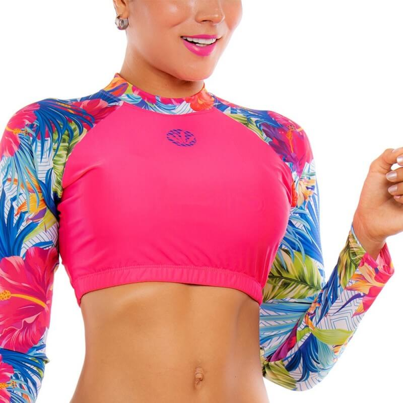 PRAIE Long Sleeve Swim Top REF: 2135A Flowers
