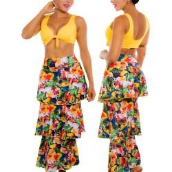 PRAIE Beachwear REF: 1510 Print Skirt Birds Boleros