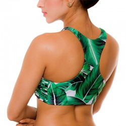 PRAIE Swimsuit Top REF: 1921A Halter Natural Leaves