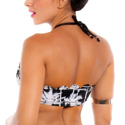 PRAIE Swimsuit Top REF: 1615A Halter Palm Tree Coconut