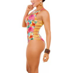 PRAIE One piece Swimsuit REF: 1909 Flowers *Tummy Control