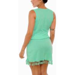 PRAIE Beachwear REF: 2224 Diagonal Short Dress Feathers
