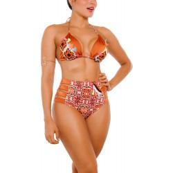 PRAIE High Waist Bikini REF: 2302 Ocre Handmade