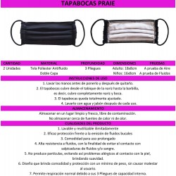 PRAIE Face Masks REF: TP001 Various colors Reusables 2x1