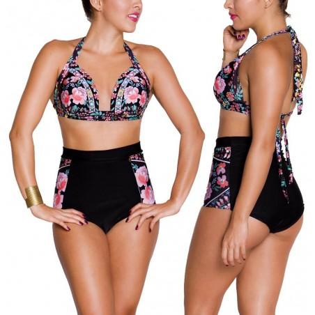 PRAIE High waist Bikini REF: 1228 Floreado