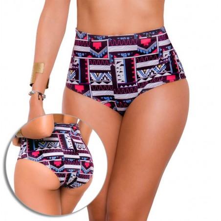 Panty Alto de Vestido de Baño PRAIE REF: 9014B Retro Étnico