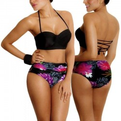 Bikini RETRO PRAIE REF: 1134 Flores (Negro)