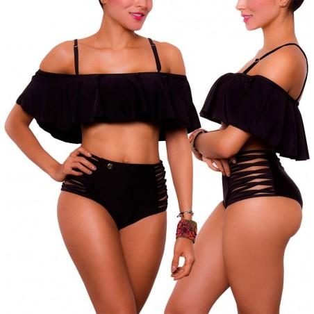 Vestido de Baño Bikini RETRO PRAIE REF: 1602A Bardot Unicolor
