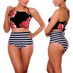 PRAIEHigh waist Bikini REF: 1706 Halter Flores Rayas