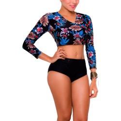 Vestido de Baño Bikini Retro Manga Larga PRAIE REF: 1712 Selva